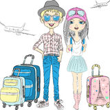 Vector hipster couplel travels the world Stock Photography