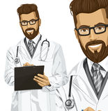 Vector Hipster Doctor Man With Clipboard Royalty Free Stock Photos