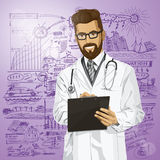 Vector Hipster Doctor Man With Clipboard Royalty Free Stock Photo