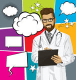 Vector Hipster Doctor Man With Clipboardr And Bubble Speech Stock Images