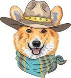 Vector Hipster dog Pembroke Welsh corgi. Hipster dog Pembroke Welsh corgi breed in hat and neckerchief