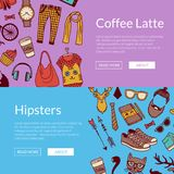 Vector hipster doodle icons horizontal banners illustration stock illustration