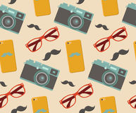Vector hipster elements seamless pattern with fashion sunglasses, vintage camera, mobile phone etc. in trendy flat style Stock Images