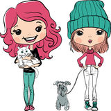 Vector hipster fashion cute girl wit pets vector illustration