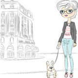 Vector hipster fashion girl with dog Stock Image