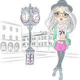 Vector hipster fashion girl near with a big clock Royalty Free Stock Photos