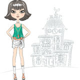 Vector hipster fashion girl top model in the city. Hipster beautiful fashion girl top model in a shirt and shorts in the city stock illustration