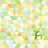 Vector hipster geometric cat on triangles seamless background. Origami style. Stock Images