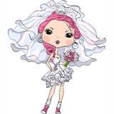 Vector hipster girl bride in short wedding dress Stock Image