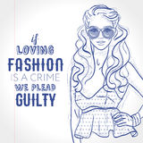Vector hipster girl dressed in court shoes, top with peplum, sunglasses, sketch on a notebook page Stock Images