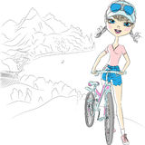 Vector hipster girl tourist with bicycle. Trendy hipster girl tourist with bicycle in the mountains near the sea vector illustration