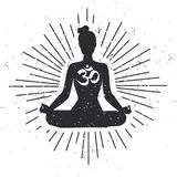 Vector hipster grunge illustration with female silhouette in lotus pose and religious symbol Om. Vector illustration with meditating woman in lotus yoga pose Stock Photo