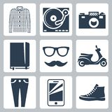 Vector hipster icons set Stock Image