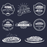 Vector hipster italian food logos. Modern pasta and pizza signs etc. Hand drawn mediterranean cuisine illustrations. Royalty Free Stock Photography