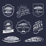 Vector hipster italian food logos. Modern pasta and pizza signs etc. Hand drawn mediterranean cuisine illustrations. Stock Photos