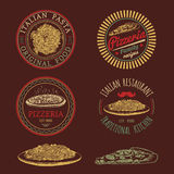 Vector hipster italian food logos. Modern pasta and pizza signs etc. Hand drawn mediterranean cuisine illustrations. Royalty Free Stock Photos