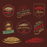 Vector hipster italian food logos. Modern pasta and pizza signs etc. Hand drawn mediterranean cuisine illustrations. Stock Photography