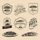 Vector hipster italian food logos. Modern pasta and pizza signs etc. Hand drawn mediterranean cuisine illustrations. Royalty Free Stock Image