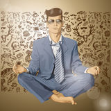 Vector Hipster man in Lotus Pose Royalty Free Stock Photo