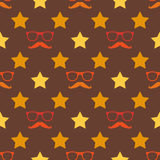 Vector hipster moustache and spectacles seamless Royalty Free Stock Photography