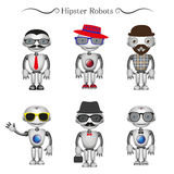 Vector hipster robots Royalty Free Stock Photos