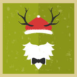 Vector hipster Santa Claus. Silhouette with cool beard and glass Royalty Free Stock Photos