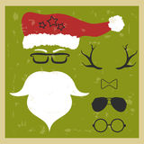 Vector hipster Santa Claus. Silhouette with cool beard and glass Royalty Free Stock Images