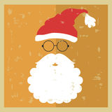 Vector hipster Santa Claus. Silhouette with cool beard and glass Royalty Free Stock Photo