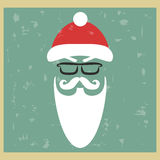 Vector hipster Santa Claus. Silhouette with cool beard and glass Stock Image