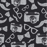 Vector hipster seamless hand drawn patter. Black and white, blackboard. Royalty Free Stock Images
