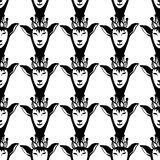 Vector hipster seamless pattern with black queen deers. Graphic illustration. Royalty Free Stock Image