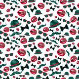 Vector hipster seamless pattern, vintage illustration with glasses Royalty Free Stock Images