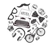 Vector Hipster style infographics elements and icons set for retro design. Bicycle, sunglasses, mustache, type writer vector illustration