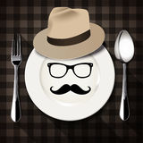 Vector of Hipster style on white plate with spoon and fork. Royalty Free Stock Photo