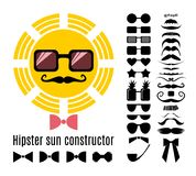 Vector hipster sun constructor with collection of  mustaches, glasses, bow ties and a pipe. Hipster style infographic elements and icons set for retro sun design Stock Images