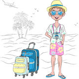Vector hipster traveler guy on the sea beach Royalty Free Stock Images