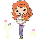 Vector hipsterl fashion cute girl with kitten Stock Photos