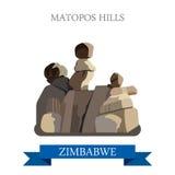 Vector histórico plano IL del web de Zimbabwe de las colinas de Matopos Fotografía de archivo libre de regalías