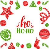 Vector Ho Ho-Ho lettering design with festive New Year elements. Christmas typography for greeting card template. Vector Ho Ho-Ho lettering design with festive Stock Photos