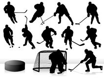 Vector Hockey Players. Hockey Players - Silhouettes / Vector  - Eps8 Royalty Free Stock Photo
