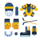 Vector hockey uniform and accessory in flat style. Stock Images