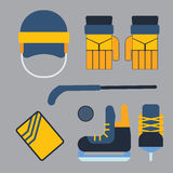 Vector hockey uniform and accessory in flat style. Stock Photography