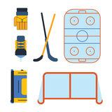Vector hockey uniform and accessory in flat style. Stock Photos