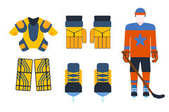 Vector hockey uniform and accessory in flat style. Royalty Free Stock Photo