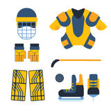 Vector hockey uniform and accessory in flat style. Stock Image
