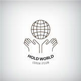 Vector holding world logo, eco, protection of the planet, people rights, global icon. Stock Images