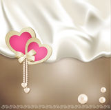 Vector holiday background with beige silk Stock Photos