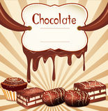 Vector holiday background with chocolate candy Stock Images