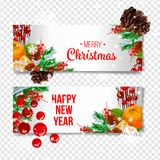 Vector holiday background with fir tree branches, ornaments and Merry Christmas letters. Hanging balls and ribbons.  Chris Royalty Free Stock Image