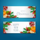 Vector holiday background with fir tree branches, ornaments and Merry Christmas letters. Hanging balls and ribbons. Isolated Chris Royalty Free Stock Photo